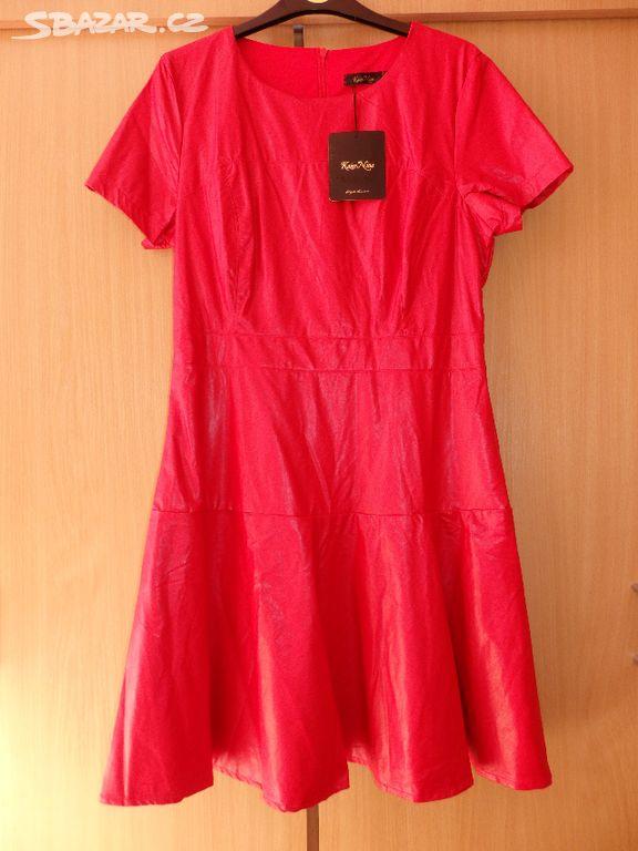 Červené koženkové šaty vel.cca L 1c1b9f6dc3