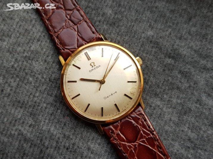 Zlaté pánské náramkové hodinky OMEGA Genève c404a7d846b