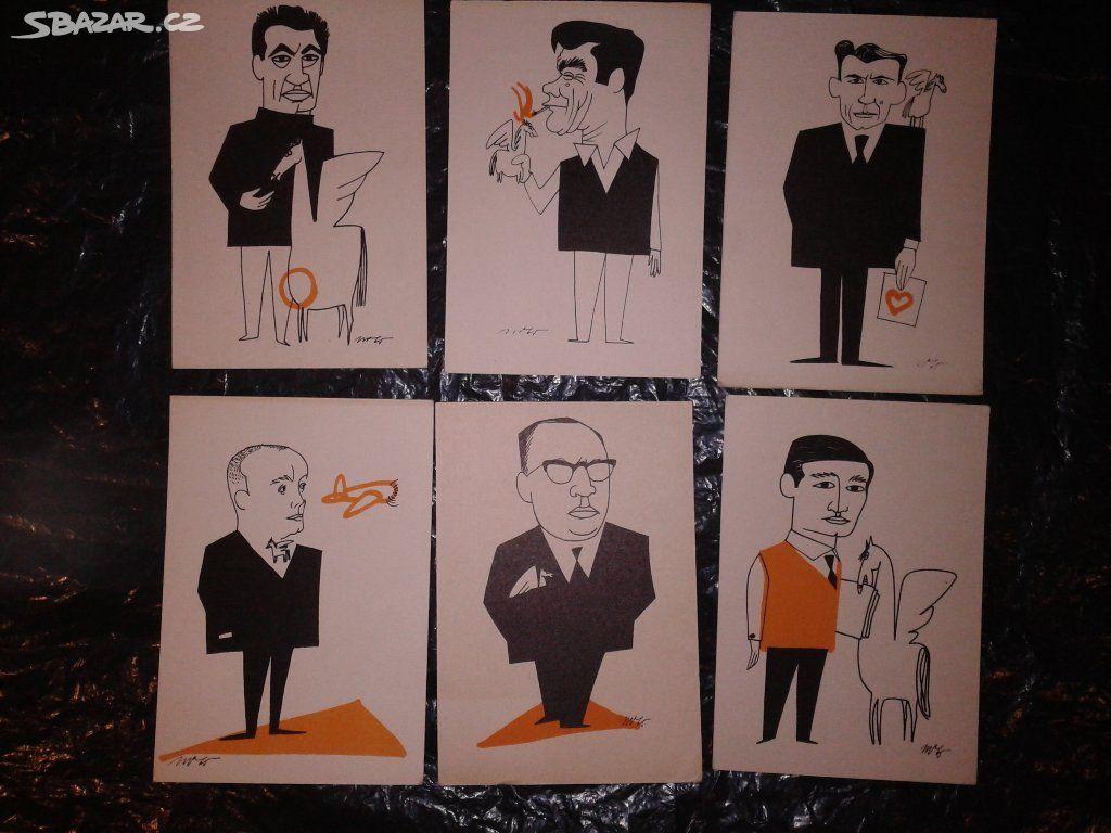 6c5372dbad Pohlednice- karikatury Milan Vavro. Soubor 6 ks. - Rokytnice nad ...