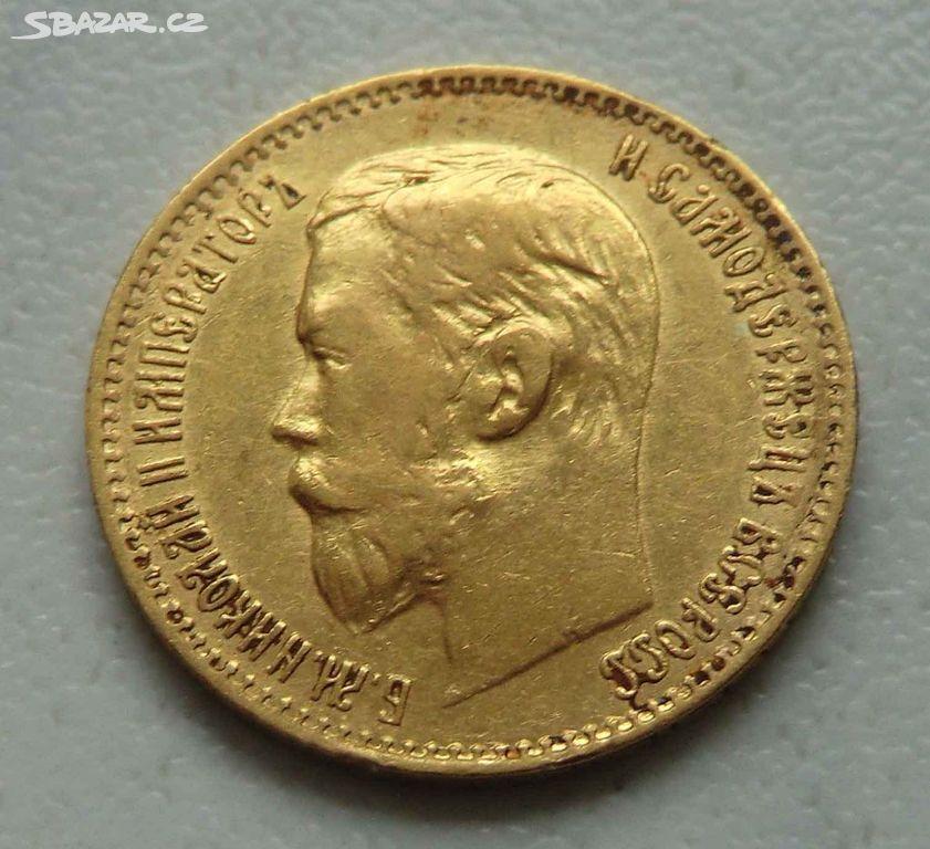 e6a88f705 Rusko - Zlatý 5 Rubl 1897 AG, car Mikuláš II. - Bílovec, Nový Jičín ...