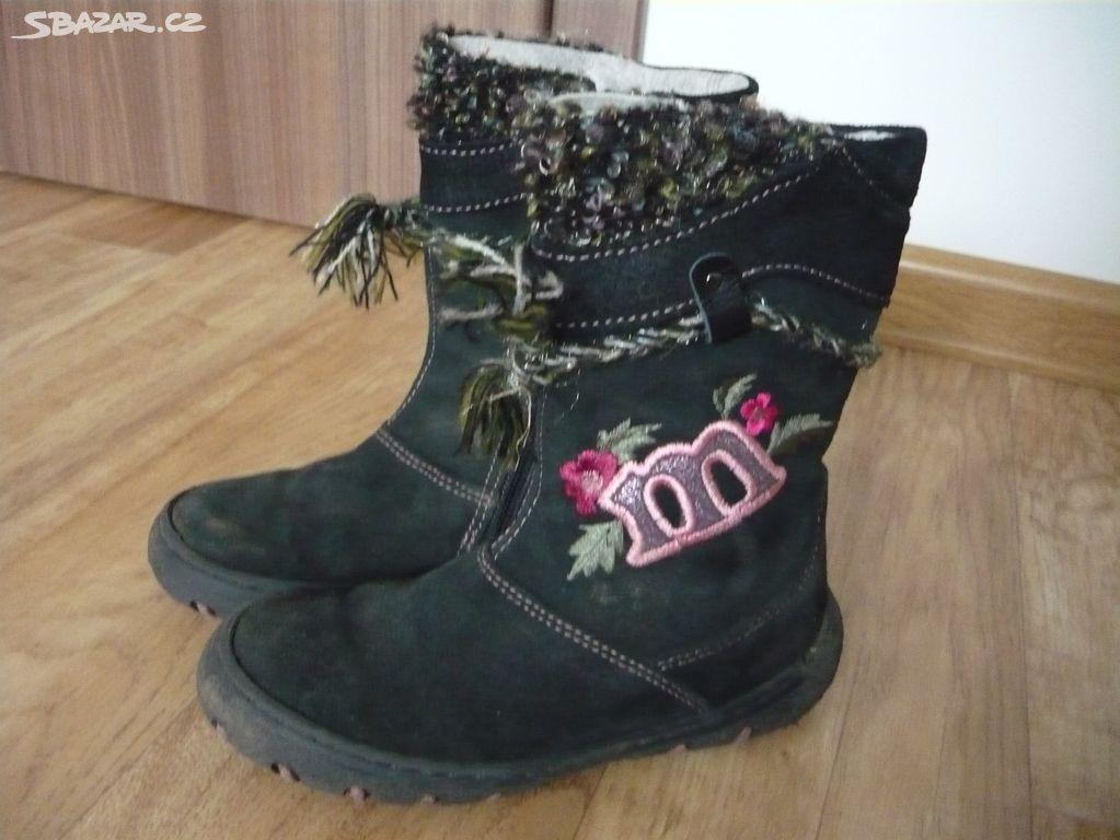 Dívčí kožené zimní boty kozačky vel. 28 - Senožaty 5953417ae3
