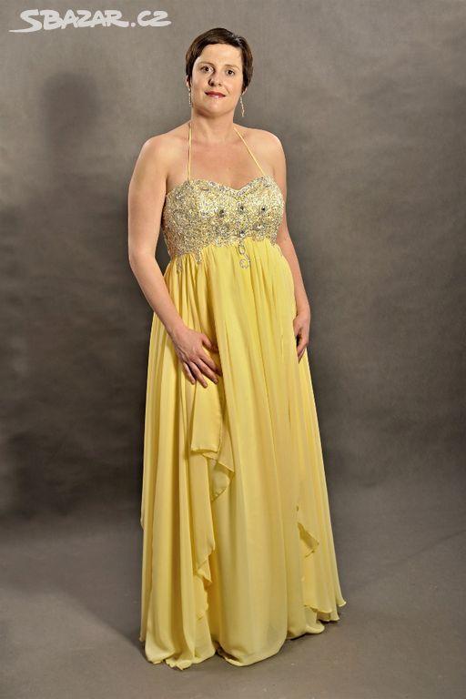 0b1af092444 Žluté šifonové šaty - Vinary