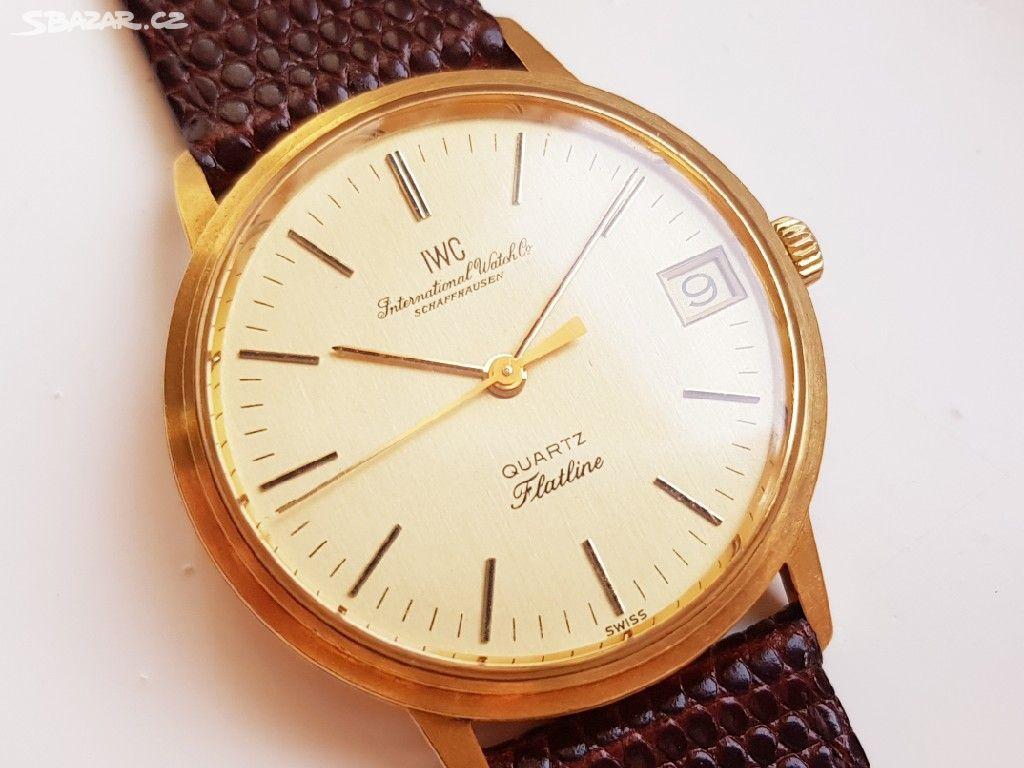 Zlaté panské náramkové hodinky IWC Flatline - Praha - Sbazar.cz 66d13891f3d