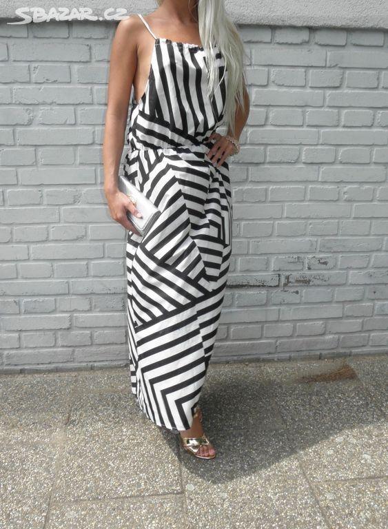 f7377483af7 Nové letní maxi šaty bílo černé