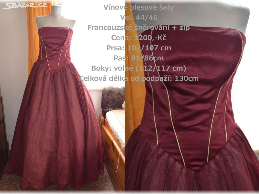 501aef21dbc Vínové maturitní šaty 44 46+ SLEVA - Turnov