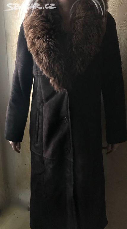 b26f14fde kožený hnědý zimní kabát z berana vel.M/L - Praha - Sbazar.cz