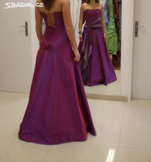Plesové šaty + psaníčko vínové barvy aed926dbcf