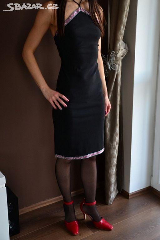 e31f85f790e Krátké černé šaty s vázáním kolem krku nové vel S - Brandýs nad ...