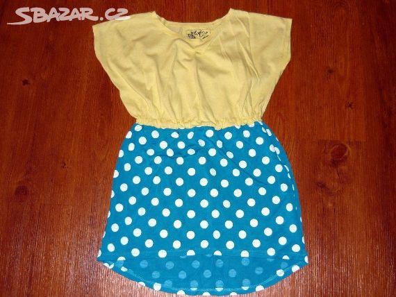 9fc9adfb9fb Prodám žluto-modré puntíkaté šaty zn.Next vel.128