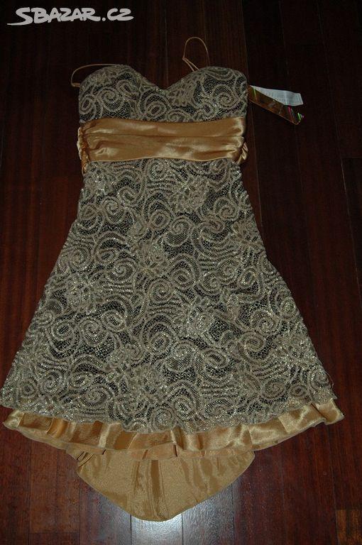 Krajkové zlaté šaty Pretty women 38 40 - Kroměříž - Sbazar.cz 272b2900493