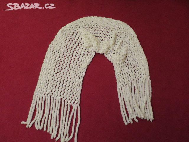 143039cf0d5 Bílá šála -žinilková délka 180 cm