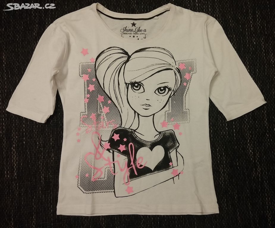 Dívčí bavlněné tričko s potiskem 1359cde23d