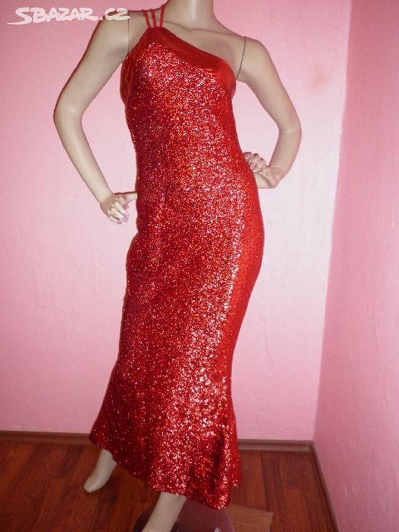 Dlouhé červené třpytivé šaty vel.UNI - Václavovice 0c8e269713