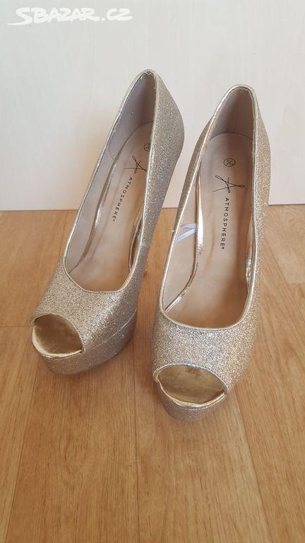 Zlaté dámské boty na podpatku e2c44933be