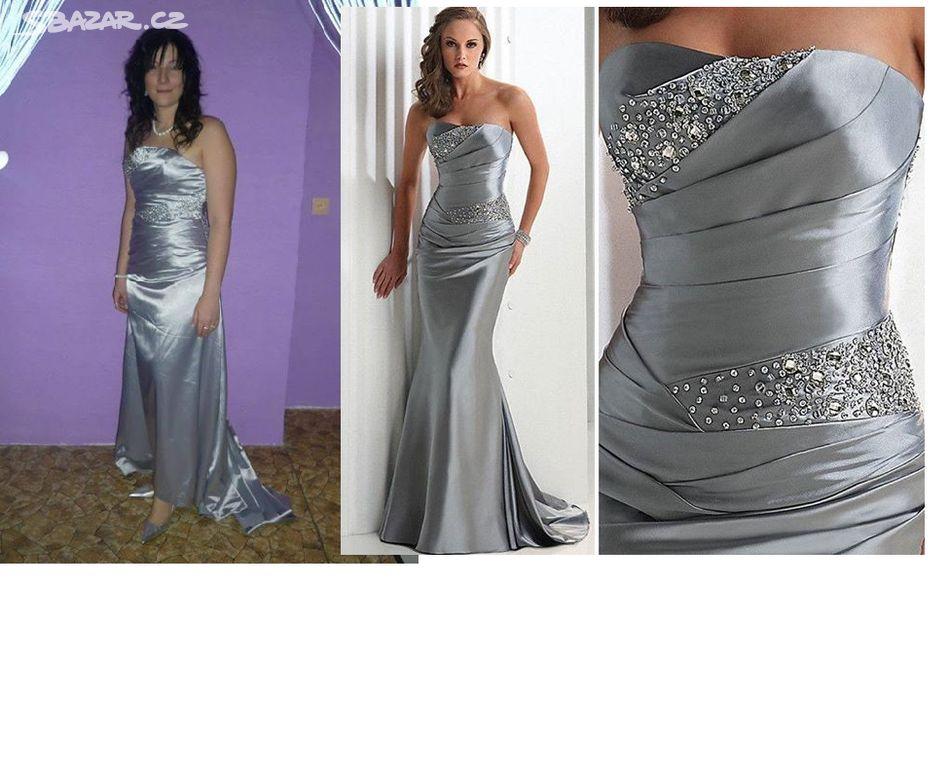 Dámské stříbrné plesové šaty s kamínky c674ee63e1