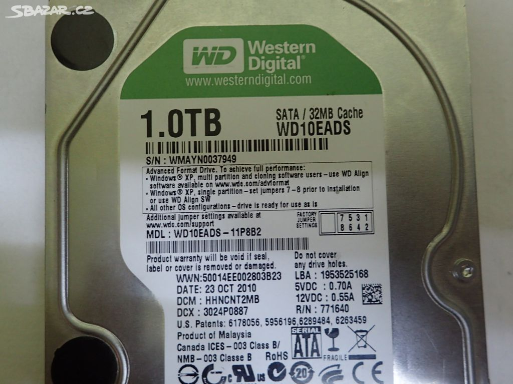 WD10EADS-11P8B2 WD Digital 1TB 5400RPM SATA 3Gb/s