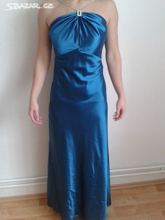 Prodám modré dlouhé saténové šaty a7902ae11d