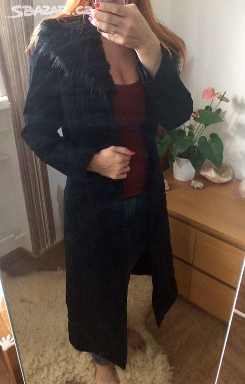 Luxusní dlouhý černý kožený kabát XS S Clockhouse - Ostrava-město ... 0f3d2a8e24