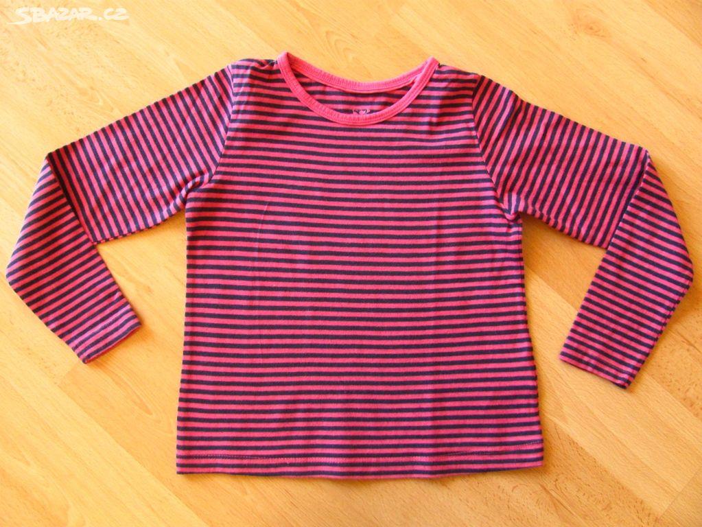 Růžovo-černé pruhované triko vel.110 116 - Valašské Meziříčí 09bb456f08