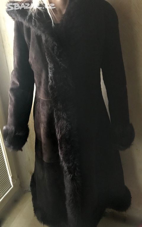 0cf222b6e kožený (z berana) zimní kabát s kapucou vel.M/L - Praha - Sbazar.cz