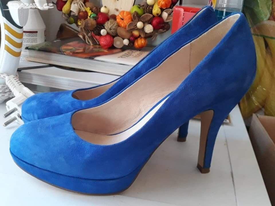 7eff827b9c Modré semišové lodičky - Turnov